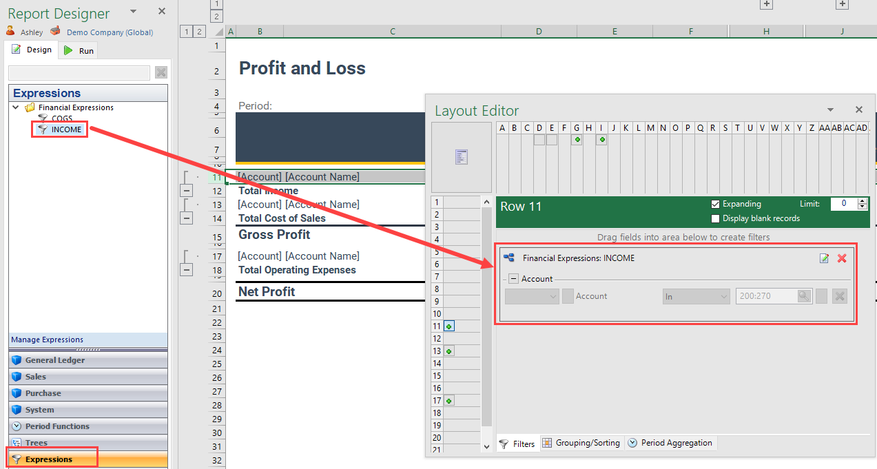 Use expressions in reports | OneStop Reporting - Help